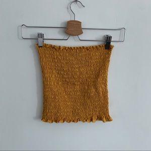 3/20$ Yellow Shirred Crop Top